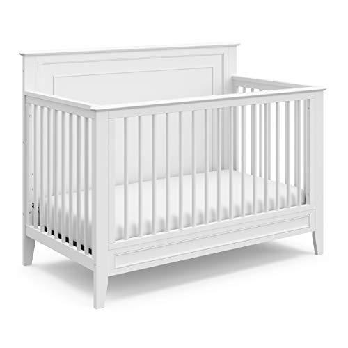 Storkcraft Solstice 4-in-1 Convertible Crib (White) - Easily Converts into Toddler Bed, Daybed, or Full-Size Bed