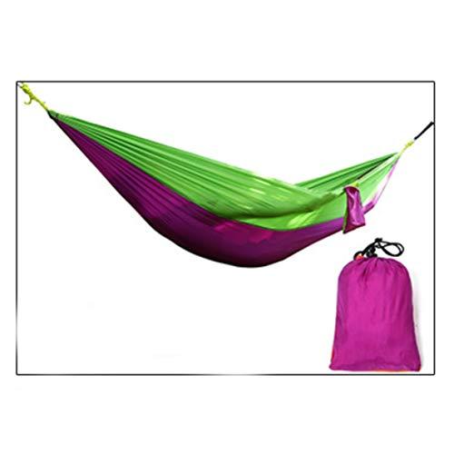 Molyflower 210t Nylon Parachute Hamac en Tissu Double Outdoor Leisure Hamac Ultra léger - Vert + Violet