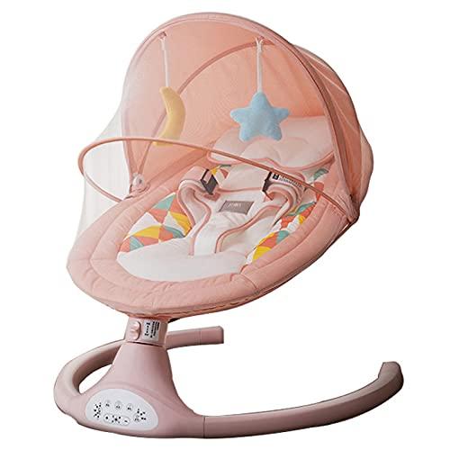Utron Elektrische Babyschaukel mit Fernbedienung und Bluetooth, Babywippe mit 5 Schwingungsamplituden und 3 Timing, für Neugeborene 0-12 Monaten,Pink