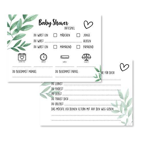 Gentle North Babyparty Spiele (25 Karten - beidseitig Bedruckt) - Deutsch - Babyshower Spiele für Junge und Mädchen - Deko Baby Shower Party Spiel - Grün Quer