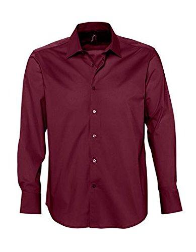 Sol'S Brighton - Chemise Homme à Manches Longues - Confortable avec Son Tissu en Stretch et Easycare - Bordeaux Moyen - 4XL