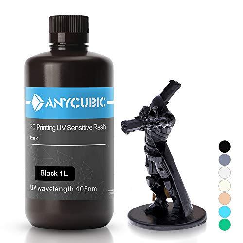 ANYCUBIC 3D Printer UV Resin 405nm Rapid Photopolymer for Photon/S Liquid 3D Resin Universal High Precision for LCD/DLP/SLA 3D Printers, 1L Black