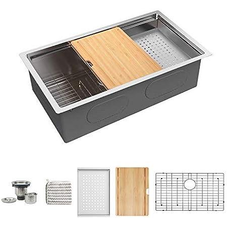 KORVOS Kitchen Sink 32''x19'' Workstation Ledge, Handmade 16 Gauge SUS304 Stainless Steel Big Single Bowl Undermount Kitchen Sink with Bamboo Cutting Board