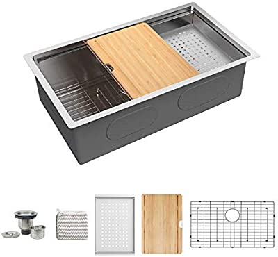 KORVOS Kitchen Sink 32''x19'' Workstation Ledge, Handmade 16 Gauge SUS304 Stainless Steel Big Single Bowl Undermount Kitchen Sink with Bamboo Cutting Board