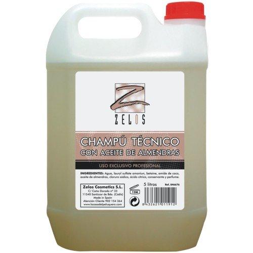 Champú Técnico con Aceite de Almendras Amargas - Garrafa 5 Litros - Proporciona Brillo y Nutrición - Ideal para cabello fino y frágil - Uso Profesional - Zelos