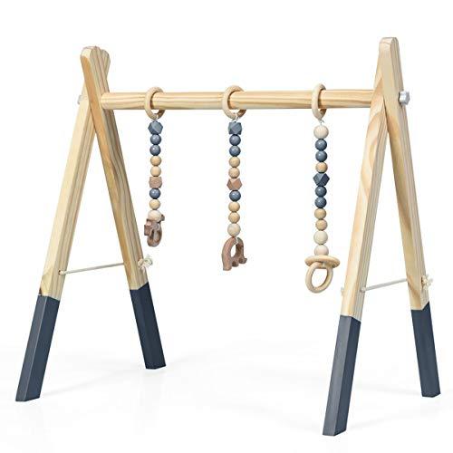 GOPLUS Baby Gym Spieltrapez, Baby Fitnesstrainer aus Holz, mit Spielzeug, Spiel- und Greiftrainer, für Kinder über 3 Monate, zur Verbesserung von Griffigkeit und Koordination (Grau)