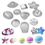 Moldes de bomba de baño, 20Pcs / Set Aleación de aluminio 3D +1 X Mini sellador térmico Herramienta de bricolaje Bola de sal Molde de artesanía casero Semicírculo Esfera Accesorios de concha Baño