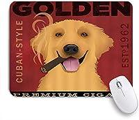 PATINISAマウスパッド 葉巻と犬かわいいペットのゴールデンレトリバー ゲーミング オフィス おしゃれ 防水 耐久性が良い 滑り止めゴム底 ゲーミングなど適用 マウス 用ノートブックコンピュータマウスマット