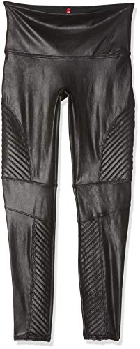 SPANX Women's Faux Leather Moto Leggings, Very Black, Large