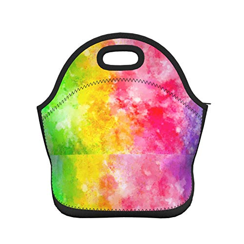 Women Men Kids Thermal Insulated Neoprene Lunch Bag Boxs,Durable Lunch Tote Bag Organizer Cooler Bento Bags Lunchbox Handbag for Work School Travel Abstract Colorful Rainbow Style Tie Dye