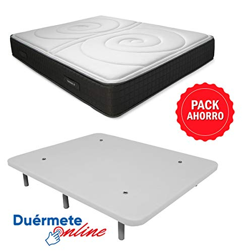Duérmete Online Pack Ahorro Cama Completa Colchón Viscoelástico Visco Duo Reversible + Base tapizada 3D Reforzada, 5 Barras de Refuerzo y válvulas de ventilación con 6 Patas, Blanco, 105x190