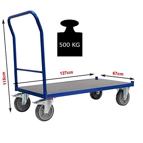 Profi Plattformwagen 500 kg Transportwagen Handwagen Magazinwagen Wagen mit XL Ladefläche 120 x 65,5cm Kommissionierwagen