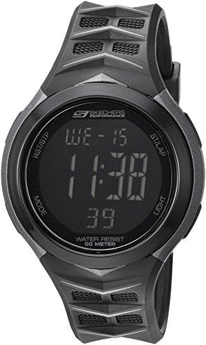 Skechers Men's Anderson Quartz Plastic and PU Digital Watch Color: Black, 20 (Model: SR1082)