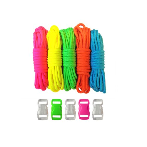 PARACORD PLANET Survival and Emergency Paracord Bracelet Kits (Cobra Braid Instructions Included) Unique Kits Ranging from 30 to 200 Feet in Total Length of Cord (5 Neons)