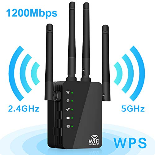 1200Mbps WiFi Range Extender, Wireless Signal Repeater Booster 2.4 & 5GHz Dual Band 4 Antennas 360° Full Coverage, Extend WiFi Signal to Smart Home & Alex Devices