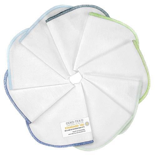 Makian Molton Baby Waschlappen Set mit Schlaufe, 30x30 cm - 9 Stück Moltontücher aus 100% Baumwolle, schadstoffgeprüft nach Öko-Tex Standard 100 - Weiß mit buntem Rand (Blau Grün)