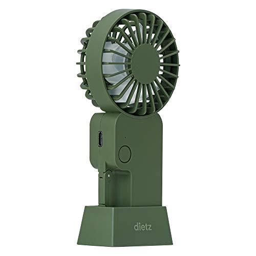 最新 ハンディ カラビナ dietz ディーツ 静音 扇風機 ミニファン スタンド 卓上 タイプC (カーキ)