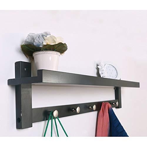 Creatieve wandkapstok, combinatie van kledinghaken en rek, wandgarderobe voor woonkamer Zwart
