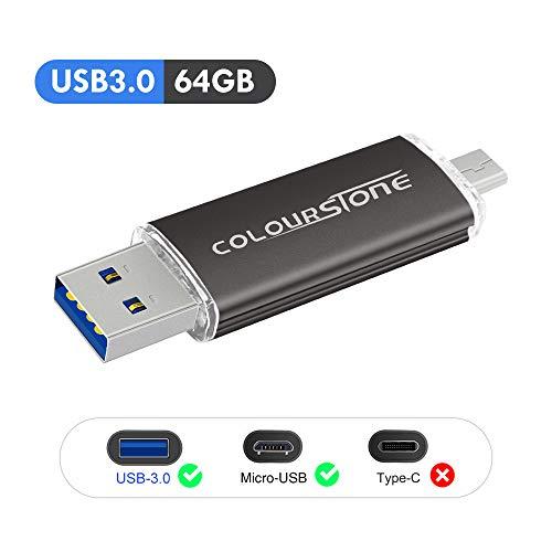 OTGMemoria USB 3.0, Colourstone 64GB Pendrive del Puerto Dual Compatible con Samsung Huawei Smartphones y Tablets Memoria Externa(64GB3.0-Negro)