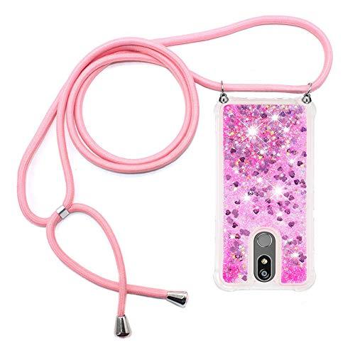 Ptny Handykette kompatibel mit LG K40/ K12 Plus Smartphone Necklace Hülle mit Band, Schnur mit Hülle zum umhängen Stylische Kordel Kette, Kristallklare Handyhülle zum Umhängen in Pink