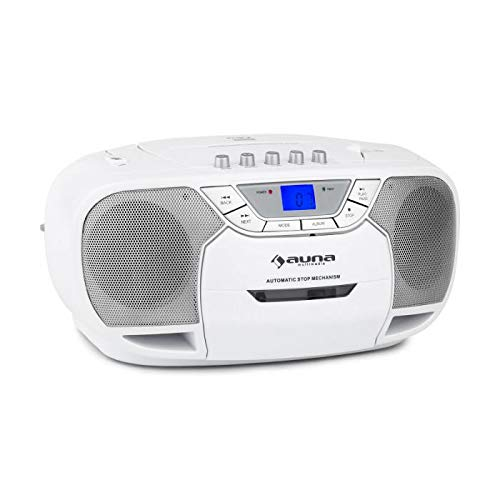 auna BeeBerry - Boombox, CD-Radio, Kassettenplayer, programmierbarer MP3- / CD-Player, Kassettendeck, AUX-EingangUKW-Radio, MP3-fähiger USB-Port, LCD, Netz- / Batterie-Betrieb, weiß
