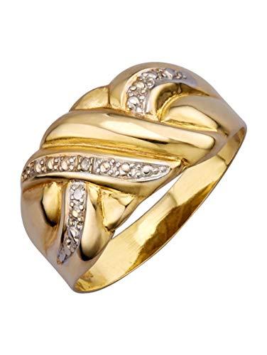KLiNGEL Damen 333 Gelbgold Ring in Gelbgoldfarben mit Diamant in Weiß