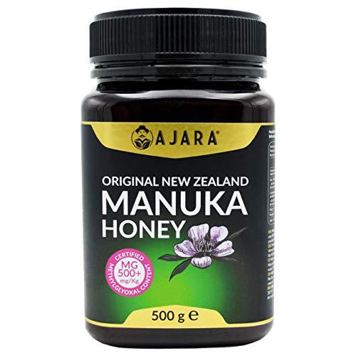 Miel de Manuka MGO 500+ Activo, Crudo, Puro y Natural al 100{918ae3c45f4ac930ad0ab63149725b53ef9080d58bfb39c890d94fc30b08a766} - Producto Certificado Metilglioxal en Nueva Zelanda - Terapéutico Antiviral y sana la piel - AJARA 500g