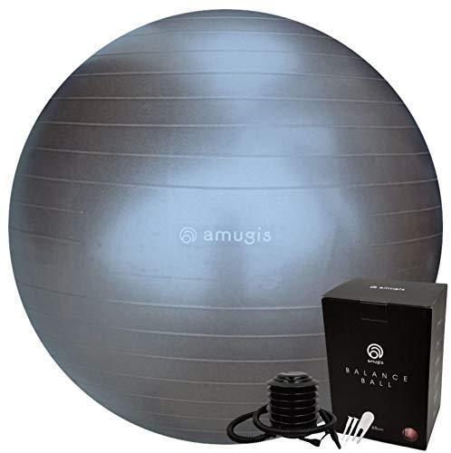 amugis バランスボール ヨガボール 55cm アンチバースト 耐荷重500KG 椅子 腰痛予防 ダイエット フットポンプ付き (charcoal/チャコール, 55cm)