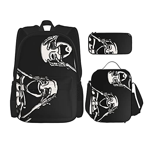Halloween Grappige Skelet Schedel Beste Gift Voor Studenten 3 In 1 Set Waterbestendig Rugzakken/Grote Capaciteit Potlood…