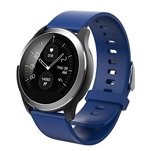 Meyeye Sport-Uhr-Smart Watch EKG PPG Blutdruck Herzfrequenzmesser Einstellbare Helligkeit Smartwatch for Android IOS Smart Phone Smart Armband (Farbe: Schwarz) (Color : Blue)