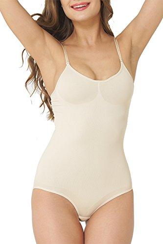 UnsichtBra Shapewear Damen Bauch Weg Body | Bauchweg Unterwäsche mit Korsett - Funktion | Bodyshaper für Frauen in schwarz und beige (sw_0800)(M (40-46), Beige)