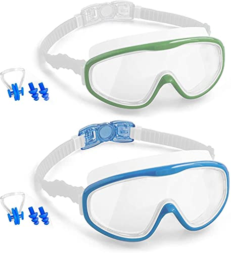 Elimoons Kids Goggles for Swimming Age 3-15,Kids Swim Goggles with Nose Cover No Leaking Anti-Fog Waterproof(2pack)