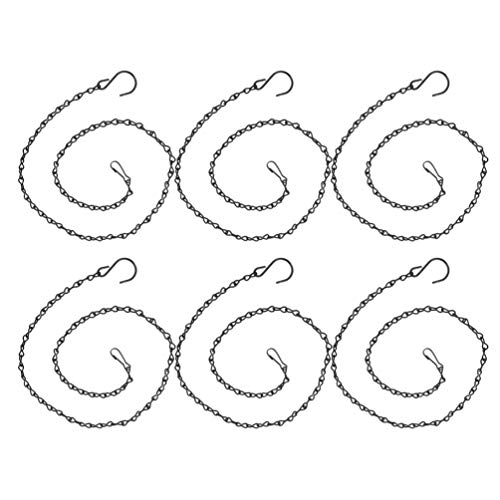 Yardwe 6 Stücke Blumenampel Kette mit Haken Pflanzenhänger Metall Ketten zum Aufhängen für Blumentopf Pflanzgefäß Hängekorb Hängeampel Vogelhaus (Schwarz)