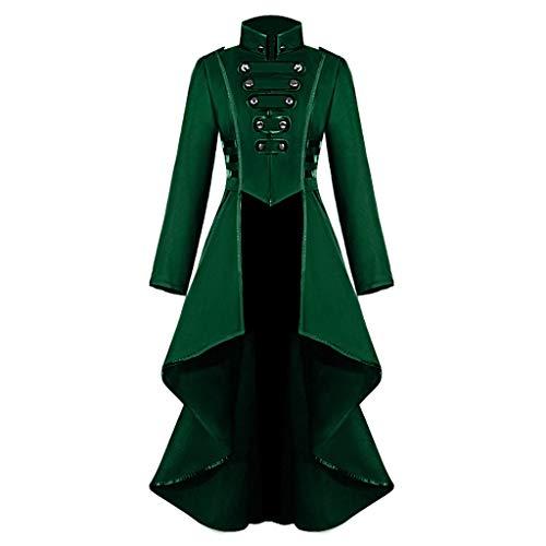 iHENGH Damen Gothic Steampunk Button Lace Korsett Halloween Kostüm Mantel Frack Jacke(Grün, XL)