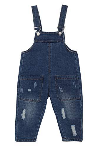 Camilife Baby Jungen Mädchen Basic Denim Latzhosen Overall Baumwolle Jeans Hose mit Hosenträger - Einfarbig Classic Dunkelblau Jeans Größe 80