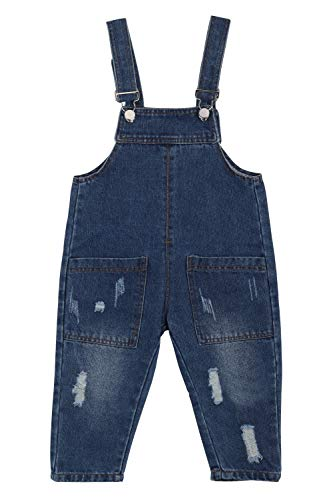 Camilife Baby Kleinkind Jungen Mädchen Basic Denim Latzhosen Overall Baumwolle Jeans Hose mit Hosenträger - Einfarbig Classic Dunkelblau Jeans Größe 95