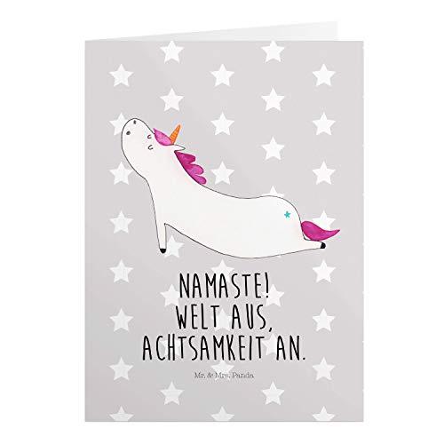 Mr. & Mrs. Panda Einladungskarte, Geburtstagskarte, Grußkarte Einhorn Yoga mit Spruch - Farbe Grau Pastell