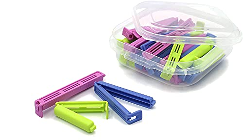 UNISHOP 30 Pinzas Cierra-Bolsas Pinza de Plástico con Caja de Diferentes Tamaños para Bolsas de Alimentos Clip de Sellado de Bolsas