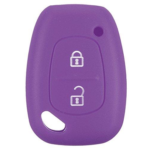 JenNiFer 2 Botón Suave Silicona Smart Llave De La Funda De La Caja para Renault Kangoo Master Trafic - Púrpura