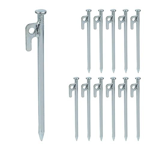 Relaxdays Set di 12 picchetti per tenda da tenda, gazebo e picchetti in acciaio per pavimenti duri, 20 cm, colore: argento