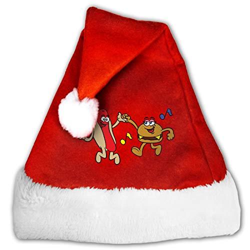 Hotdog Hamburger Cartoon Dancing Unisex Santa Hat,Comfort Red and White Plush Velvet Christmas Party Hat