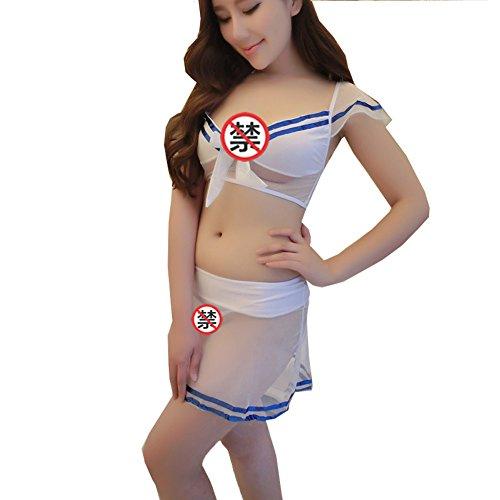 Yinglite mujeres uniforme sexy lencería elástico maillot body Stewardess Mono mujeres Policía enfermera profesor de colegiala kimono de Maid Qipao secretario piel SM Roles Cosplay 2064blanco