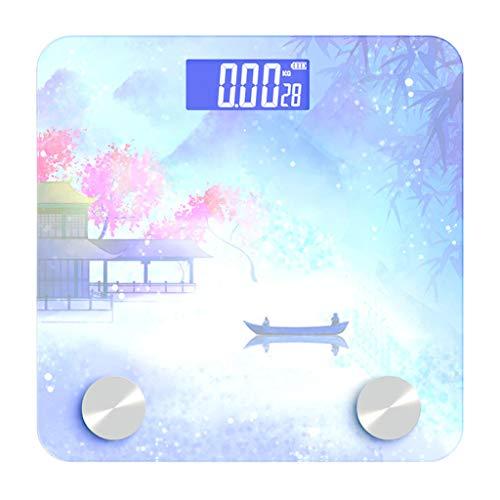 Digitale weegschaal voor het lichaamsgewicht Robuust gehard glas Goed leesbaar, lcd-kleurvierkant met achtergrondverlichting. B