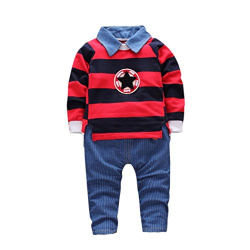 SHOBDW Junge Kleider Set, Kleinkind Kind Baby Boys Outfits Streifen Pullover T-Shirt Tops + Hosen Kleider Set (24M, Rot)