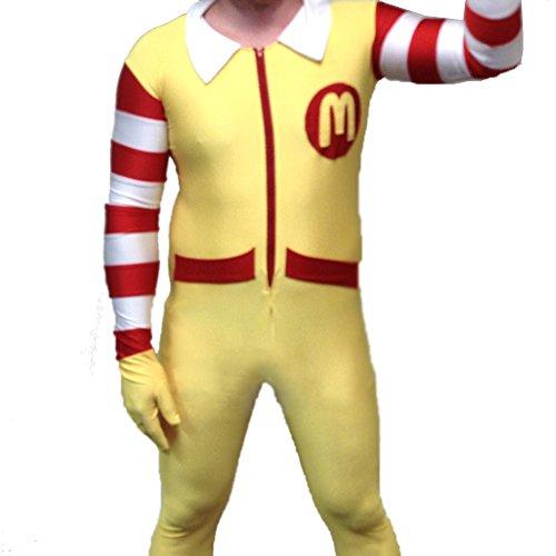 Disfraz para adulto del payaso Ronald McDonald, para hombre, de una pieza, en licra, spandex , Adult Large