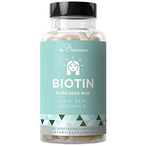 BIOTIN 5000 mcg – Healthier Hair Growth, Stronger Nails, Glowing Skin – 120 Vegetarian Soft Capsules