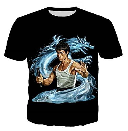 Bruce Lee Camiseta para Hombre Dragón Chino Bruce Lee Kung Fu Artes Marciales 3D Estampado Cre Neck Camiseta Ajustada De Manga Corta Color4 L
