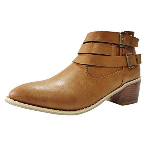 NMERWT Damen Stiefeletten Biker Boots Flandell Damen Vintage Knöchel Rom Spitz Casual Single Schuhe Kurze Stiefel