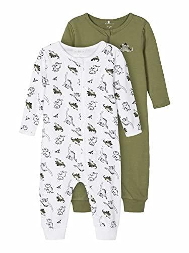 Name It Nbmnightsuit 2p Zip Dino Noos Pantoufles pour bébés et Bambins, Loden Green, 92 (Lot de 2)...