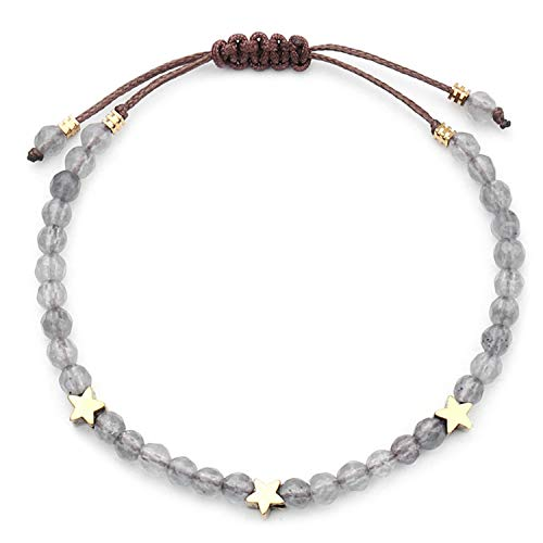 Natural Stone Beads Bracelet Women Handmade 4Mm Crystal with Star Bracelets&Bangles Size Adjustable Accessories Gray
